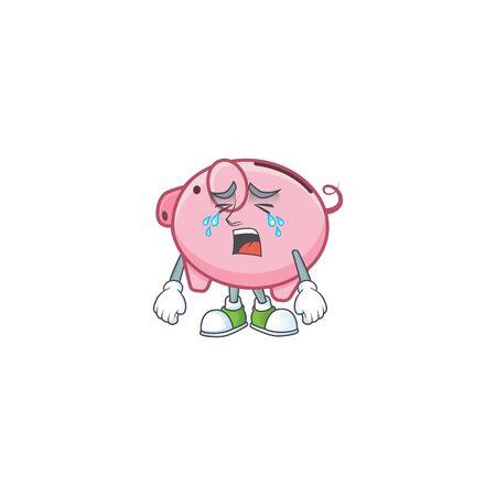 Sad of piggy bank cartoon mascot style
