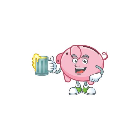 Happy piggy bank mascot design with a big glass