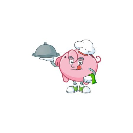cartoon design of piggy bank as a Chef having food on tray