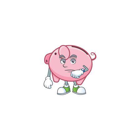 cartoon character design of piggy bank on a waiting gesture