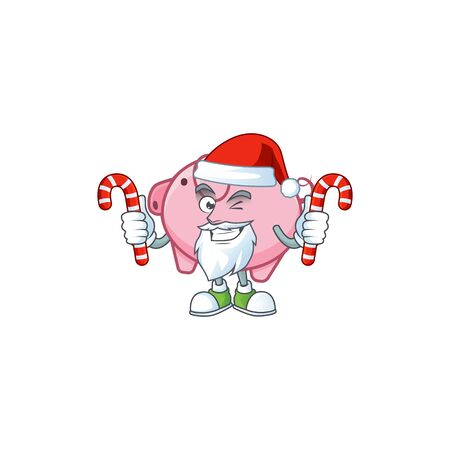 Piggy bank Cartoon character in Santa costume with candy Иллюстрация