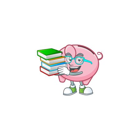 Cool and clever Student piggy bank mascot cartoon with book