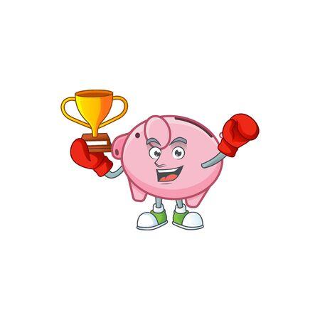 fantastic Boxing winner of piggy bank in mascot cartoon style Иллюстрация