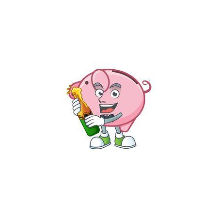 mascot cartoon design of piggy bank with bottle of beer