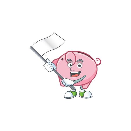 Funny piggy bank cartoon character style holding a standing flag
