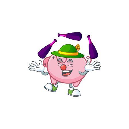 Smart piggy bank cartoon character design playing Juggling