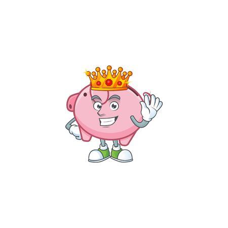 A stunning of piggy bank stylized of King on cartoon mascot style Иллюстрация