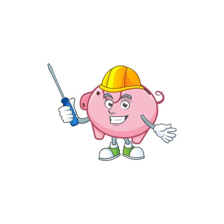Cool automotive piggy bank in cartoon character style Иллюстрация