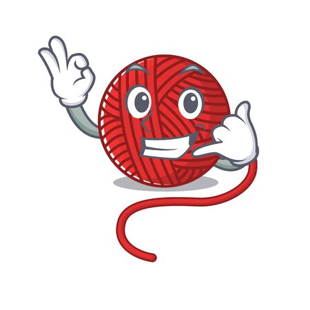 Call me funny red wool yarn mascot picture style. Vector illustration