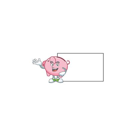 Smiley piggy bank with whiteboard cartoon character design Ilustrace