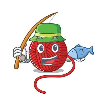 A Picture of happy Fishing red wool yarn design. Vector illustration  イラスト・ベクター素材