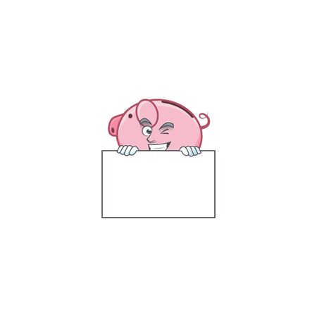 Grinning face piggy bank cartoon character style hides behind a board Ilustrace
