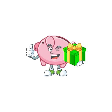 Smiley piggy bank character with gift box