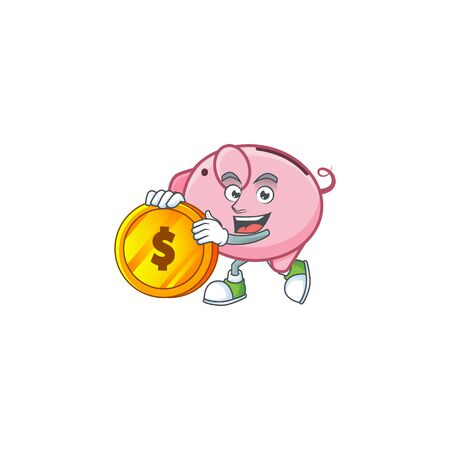 Rich piggy bank mascot cartoon design style with gold coin