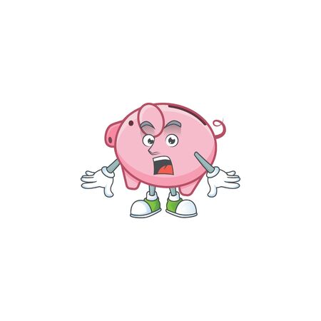 Piggy bank cartoon character design on a surprised gesture