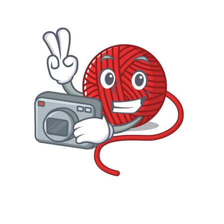 Cool Photographer red wool yarn character with a camera. Vector illustration  イラスト・ベクター素材