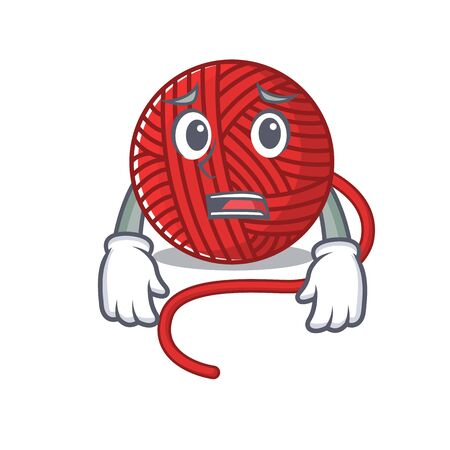 A picture of red wool yarn showing afraid look face. Vector illustration