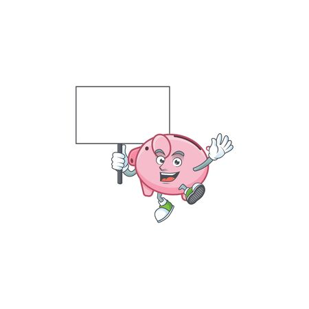 An icon of piggy bank cartoon character style bring board