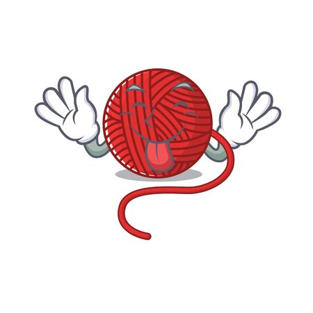 Cute red wool yarn cartoon mascot style with Tongue out. Vector illustration  イラスト・ベクター素材