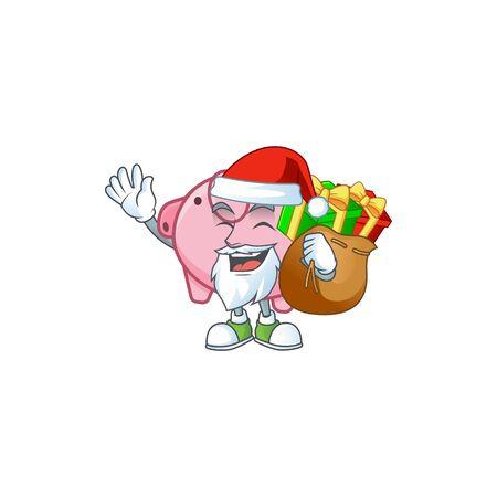 Santa piggy bank Cartoon character design having box of gift