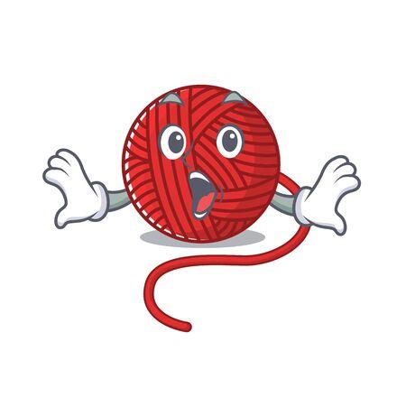 Red wool yarn cartoon character design on a surprised gesture. Vector illustration Ilustração