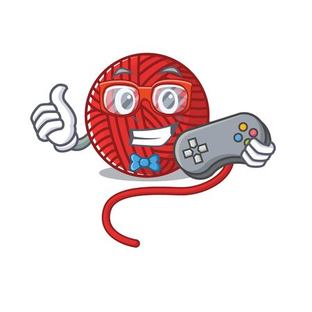 Smiley gamer red wool yarn cartoon mascot style. Vector illustration