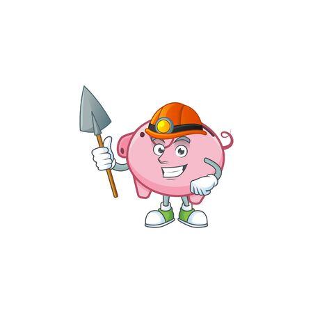 Cool clever Miner piggy bank cartoon character design