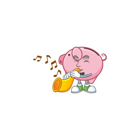 cartoon character style of piggy bank performance with trumpet