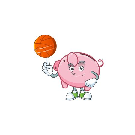 a Healthy piggy bank cartoon character playing basketball