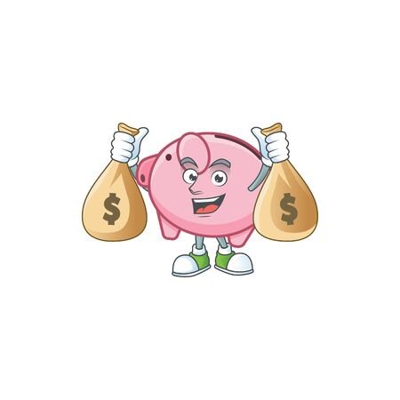 A picture of rich piggy bank cartoon character with two money bags