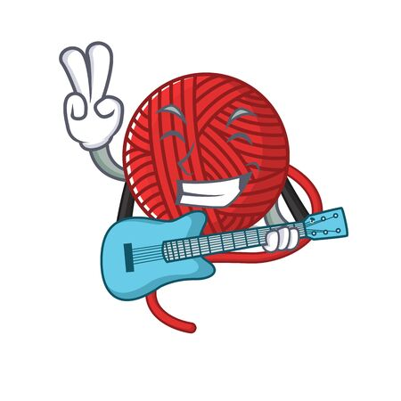 A mascot of red wool yarn performance with guitar. Vector illustration