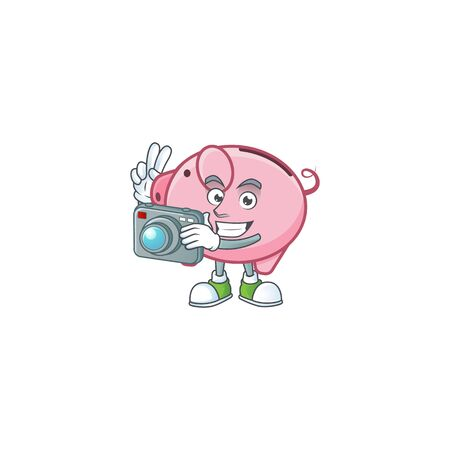 Cool Photographer piggy bank character with a camera