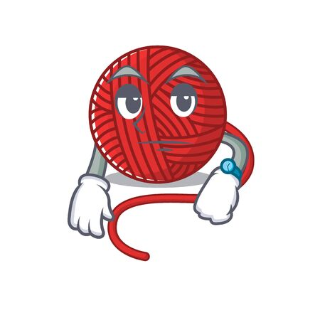 cartoon character design of red wool yarn on a waiting gesture. Vector illustration