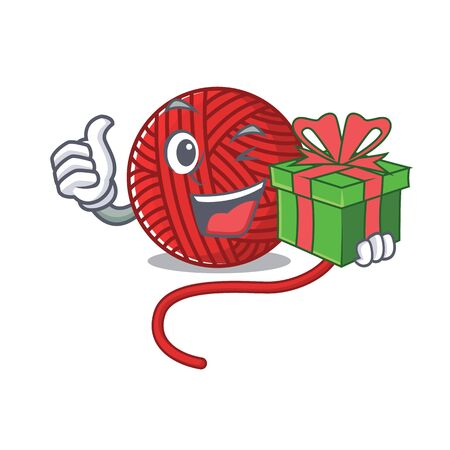 Smiley red wool yarn character with gift box. Vector illustration  イラスト・ベクター素材