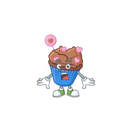 Chocolate love cupcake cartoon character design on a surprised gesture. Vector illustration Ilustração