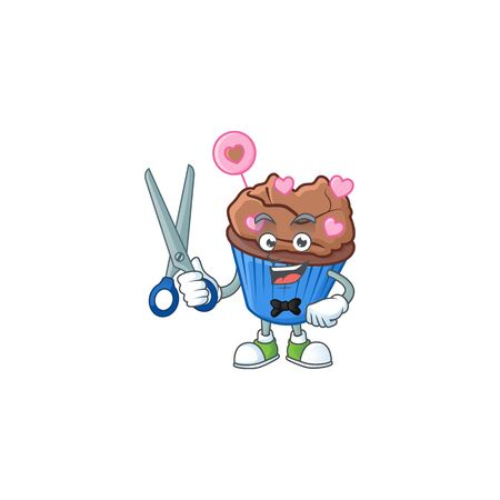 Cool friendly barber chocolate love cupcake cartoon character style. Vector illustration Illustration