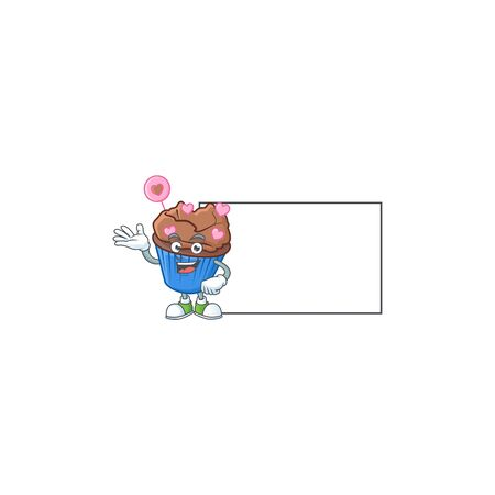Smiley chocolate love cupcake with whiteboard cartoon character design. Vector illustration