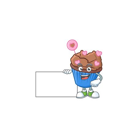 Cheerful chocolate love cupcake cartoon character having a board. Vector illustration Illustration