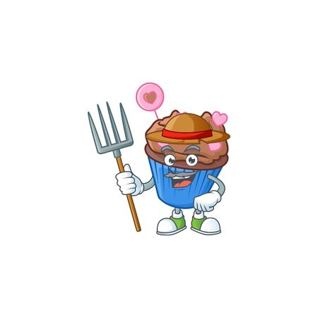 Cute Farmer chocolate love cupcake cartoon mascot with hat and tools. Vector illustration