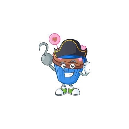 Cool one hand Pirate chocolate love cupcake cartoon character wearing hat. Vector illustration