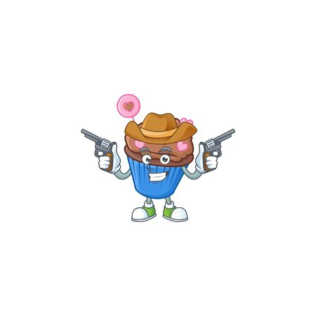 Confident chocolate love cupcake Cowboy cartoon character holding guns. Vector illustration