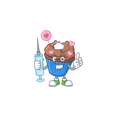 Smiley Nurse chocolate love cupcake cartoon character with a syringe. Vector illustration