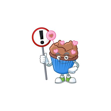 A picture of Cartoon mascot of chocolate love cupcake rise up a broad. Vector illustration Illustration