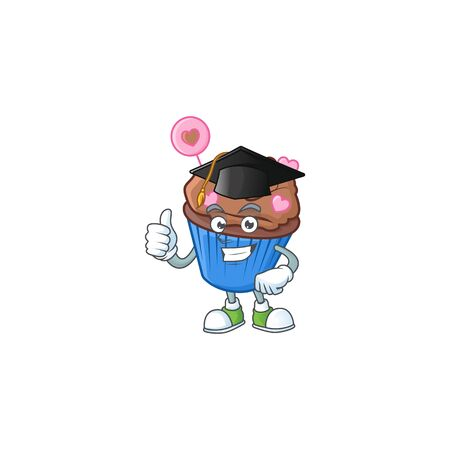 happy and proud of chocolate love cupcake wearing a black Graduation hat. Vector illustration