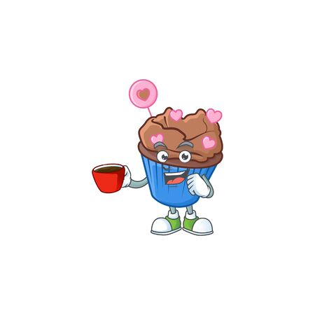 cartoon character of chocolate love cupcake with a cup of coffee. Vector illustration Illustration