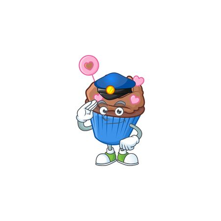 A character design of chocolate love cupcake in a Police officer costume. Vector illustration