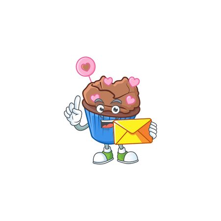 Cheerfully chocolate love cupcake mascot design with envelope. Vector illustration Illustration