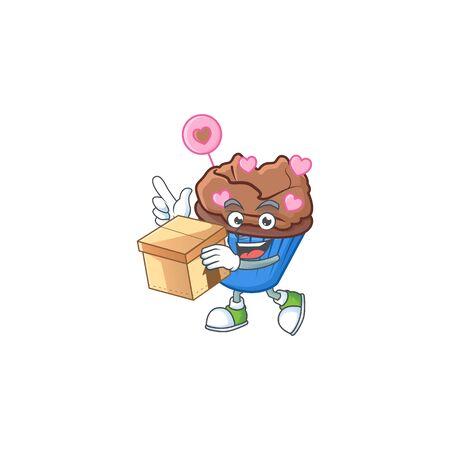 Cute chocolate love cupcake cartoon character having a box. Vector illustration 일러스트