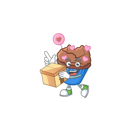 Cute chocolate love cupcake cartoon character having a box. Vector illustration Illustration