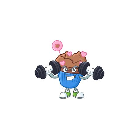 Fitness exercise chocolate love cupcake mascot icon with barbells. Vector illustration